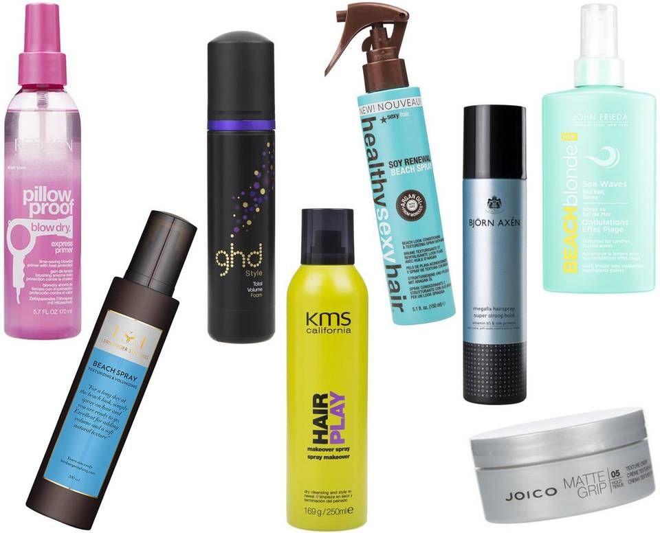 FINE STYLINGPRODUKTER (f.v.): Redken Pillov Proof Blow Dry Express Primer, kr 329. Lernberger Stafsing Beach Spray Texturizing & Volumizing, kr 179. Ghd Style Total Volume Foam, kr 239. KMS Hair Play Makeover Spray, kr 189. Healthy Sexy Hair Soy Renewal Beach Spray, kr 129. Björn Axén Megafix Hairspray, kr 127. Joico Matte Grip Texture Cream, kr 179. John Freida Sea Waves Sea Salt Spray, kr 129.