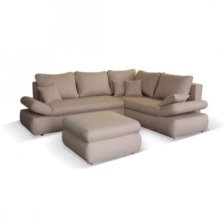 Ecksofa Paris Mit Schlaffunktion Hocker Strukturstoff Beige Home Couch Furniture Room