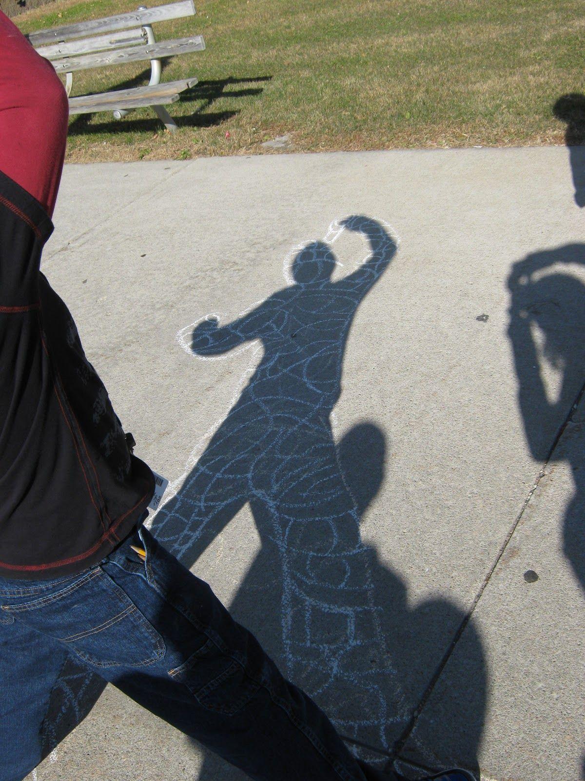 Keith Haring Inspired Shadow Chalk Drawing