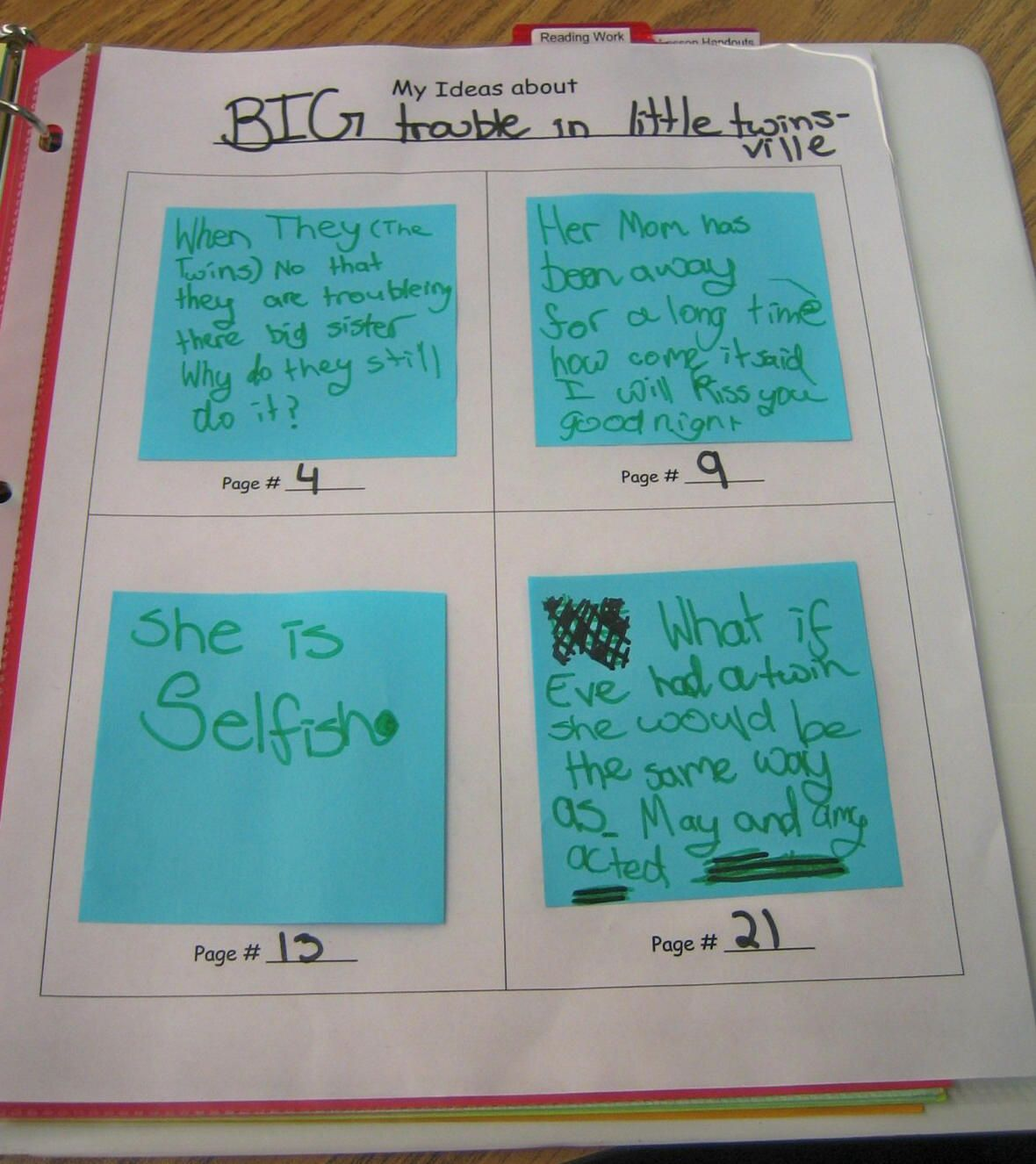 Sticky note tracking sheet. Have students keep track of their ...