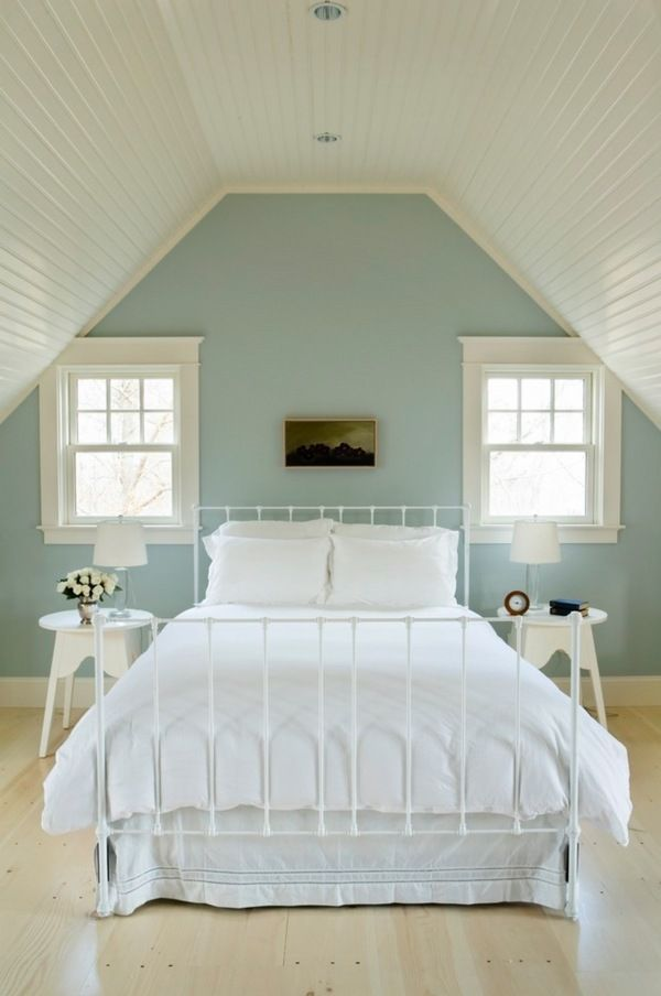 bedroom ceiling ideas beadboard blue white interior metal bed frame wooden  bedside tables
