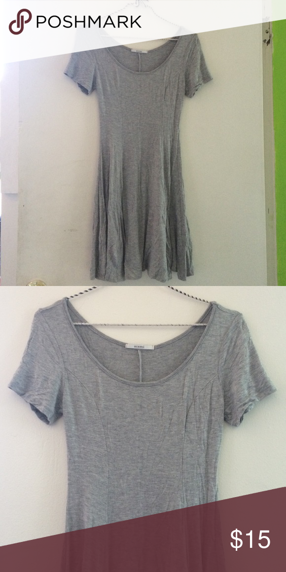 Grey fit and flare dress Really soft gray dress. Stretchy cotton. Size xs. Very flattering fit. Urban Outfitters Dresses