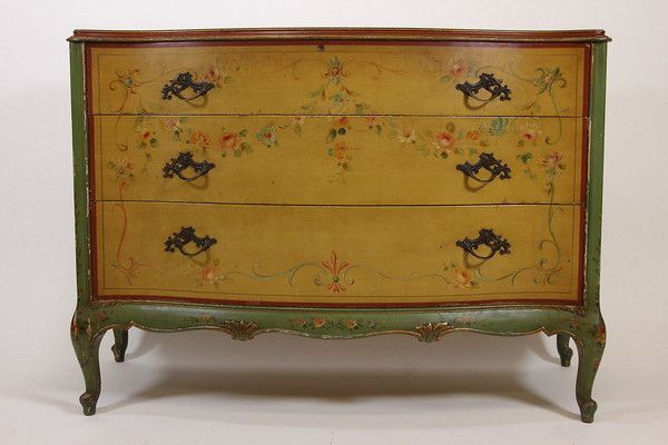 Antique Robert W Irwin Hand Painted Dresser Chest of Drawers & Mirror  Furniture - Antique Robert W Irwin Hand Painted Dresser Chest Of Drawers