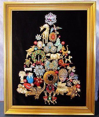 Vintage Jewelry Christmas Tree One Of A Kind Animals Framed 16 X 13 V Vintage Jewelry Crafts Jewelry Christmas Tree Vintage Jewelry Repurposed