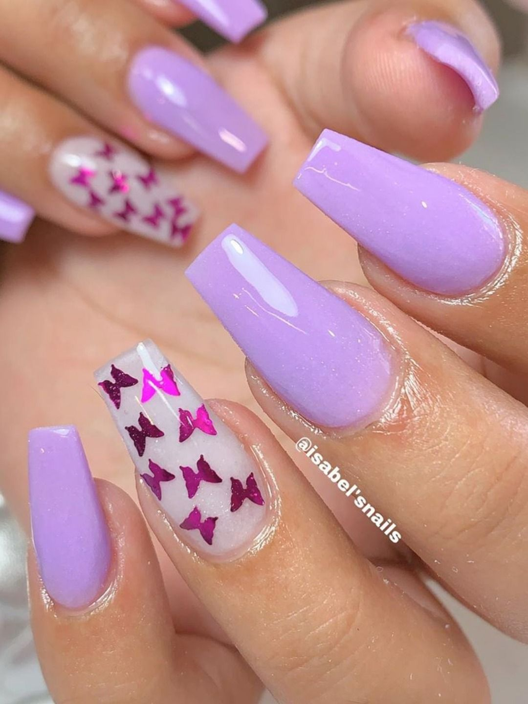 120 Best Coffin Nails Ideas That Suit Everyone Purple Acrylic Nails Purple Nails Light Purple Nails