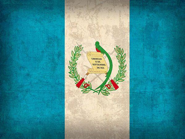 Guatemala Flag Vintage Distressed Finish Guatemala Flag Travel Art Flag Art
