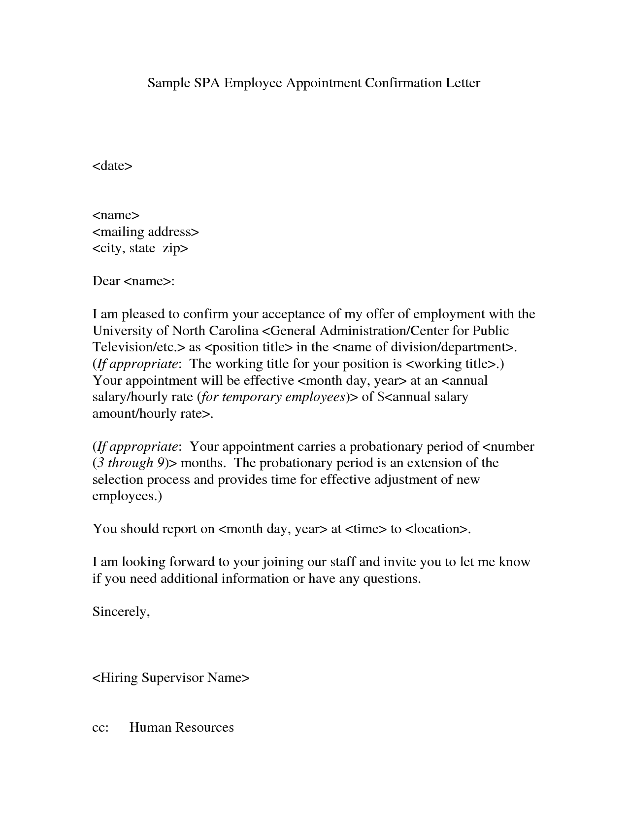 Appointment Confirmation Letter Confirmation Of Appointment Letter