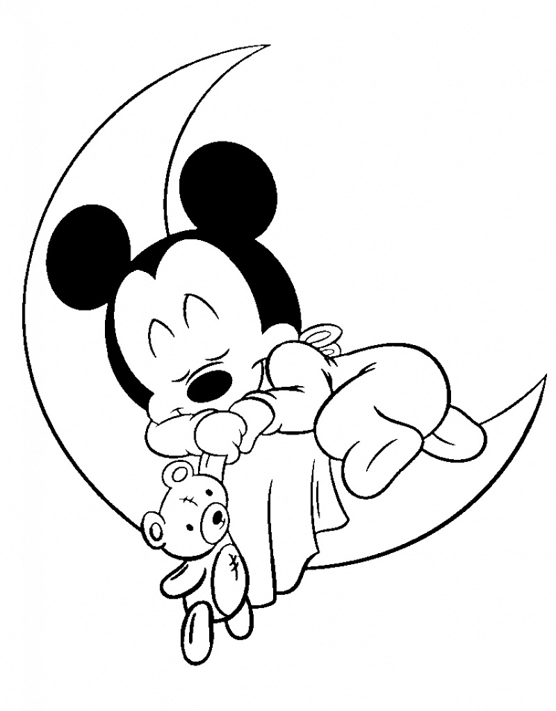 Sleeping Baby Mickey Mouse Coloring Pages | Printable ...