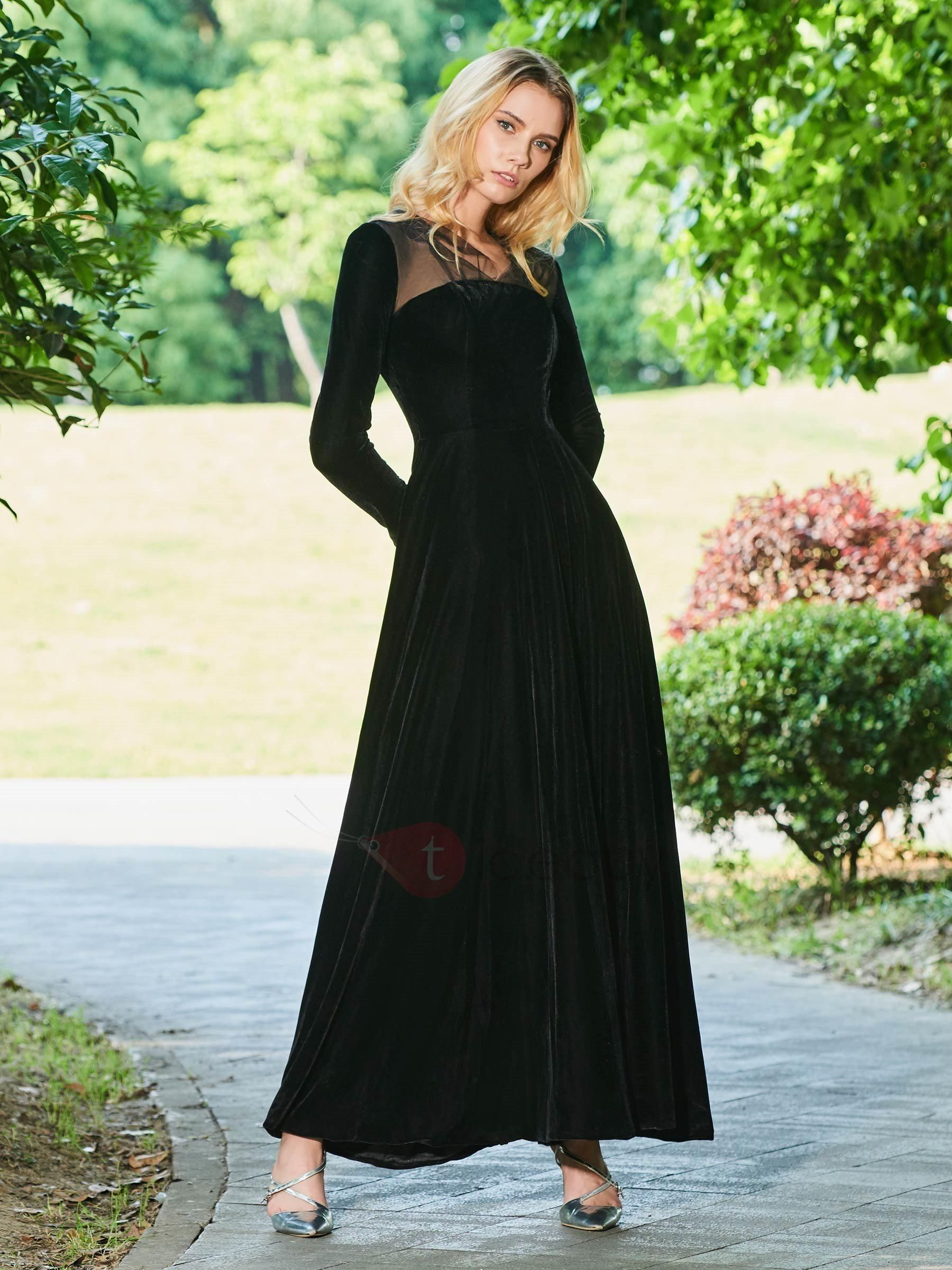 Aline velvet long sleeves vneck evening dress tidebuy