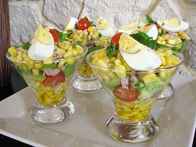 Découvrez la recette Verrines express maïs, avocats, thon en images !  Entrées froides, Pas cher, Salades, Verrines salées et plus encore.