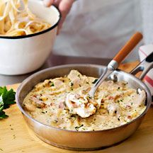Creamy chicken and bacon fettuccine | Weight Watchers | 11 ProPoints