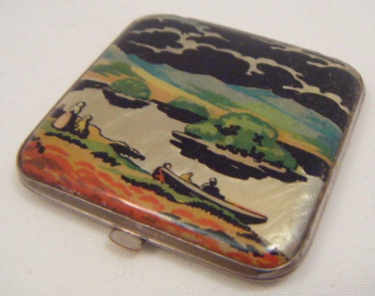 Vintage Art Deco 1920s Ladies Mirrored Compact Butterfly