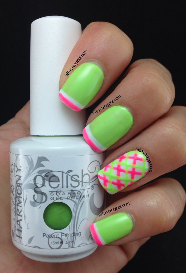 Summer Plaid Nail Art Design Using Gelish Colors Of Paradise ...