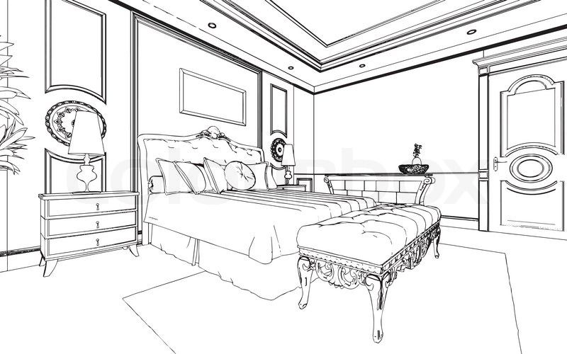 Bed Black And White Bedroom Clipart Black And White Pencil In Color Bedroom Wikiclipart Clipart Black And White Black Bedding White Bedroom