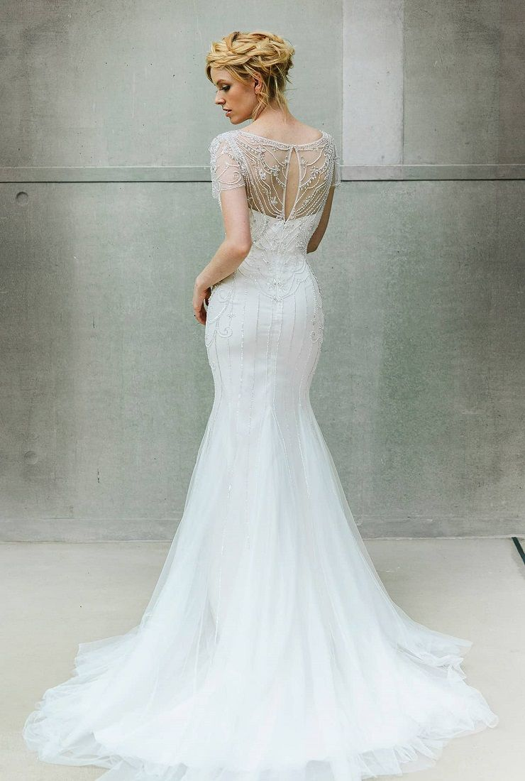 Beaded short sleeve wedding gown , vintage inspired wedding dress | fabmood.com #wedding #weddinggown  #weddingdress #bridalgown #bridaldress #vintageweddingdress