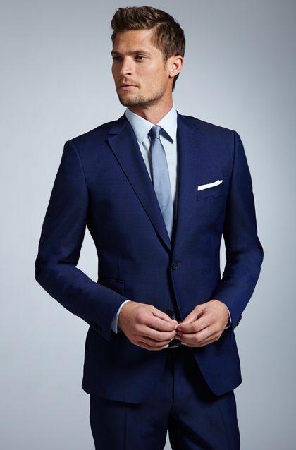 Navy Suit Light Blue Shirt Blue Tie Wedding Suit