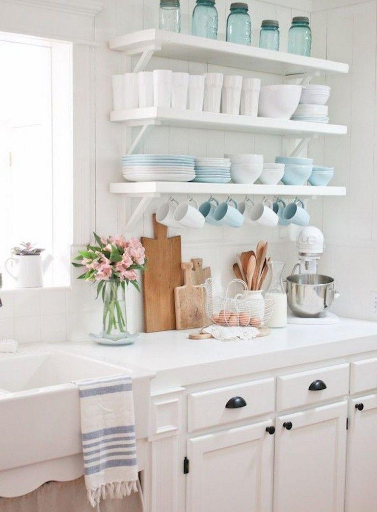37 inspiring diy small kitchen open shelves decor ideas nautical kitchen rustic kitchen on kitchen decor open shelves id=59202