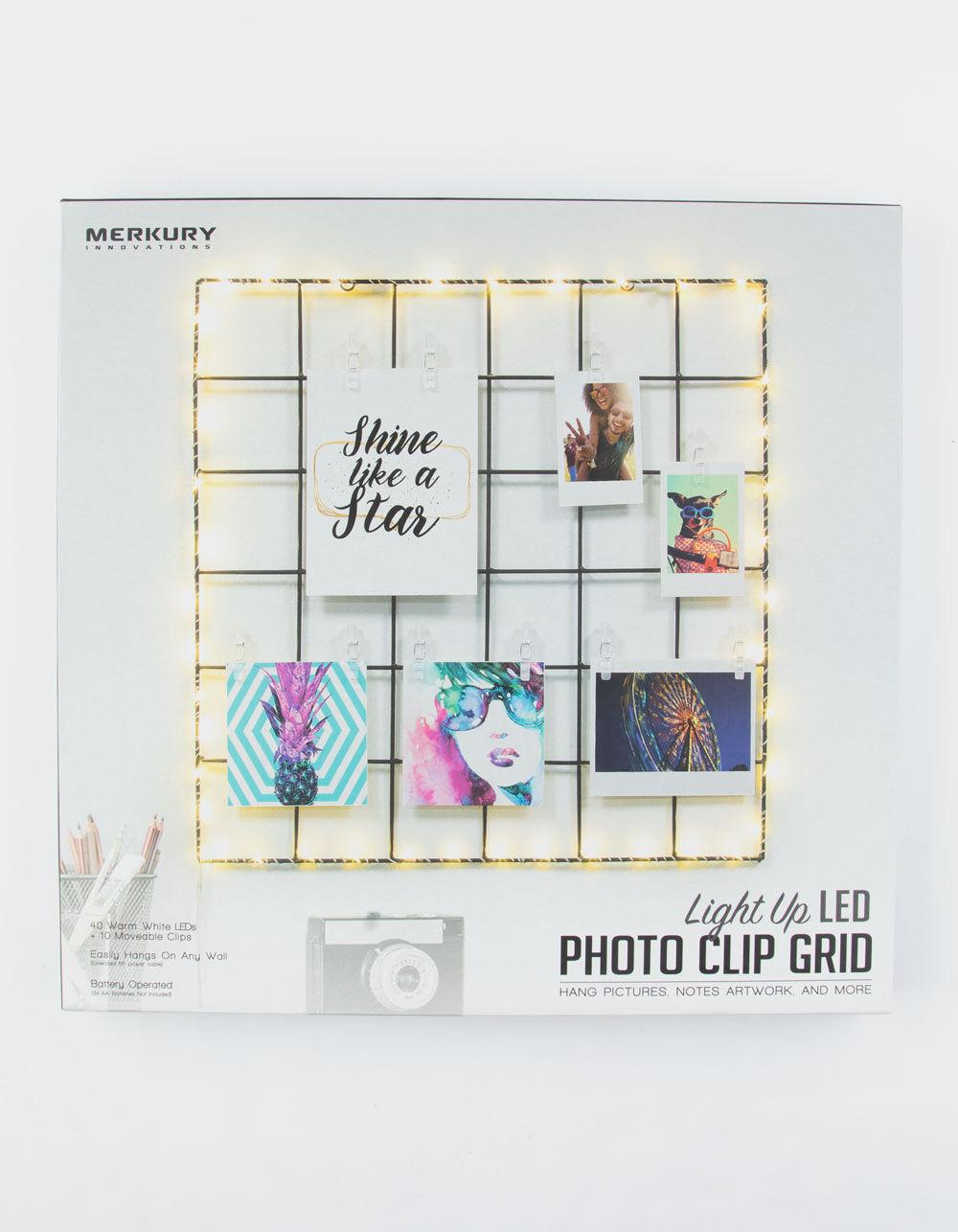 Merkury Innovations Light Up Led Photo Clip Grid Black Milgc01101 In 2020 Photo Clips Light Up Innovations Lighting