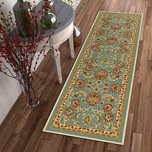 Outdoor Rugs Nonskid Slip Rubber Back Antibacterial 3x12 27 X 12 Runner Rug Timeless Oriental Blue Traditiona Well Woven Indoor Outdoor Kitchen Rug Runner Washable throw rugs with rubber backing