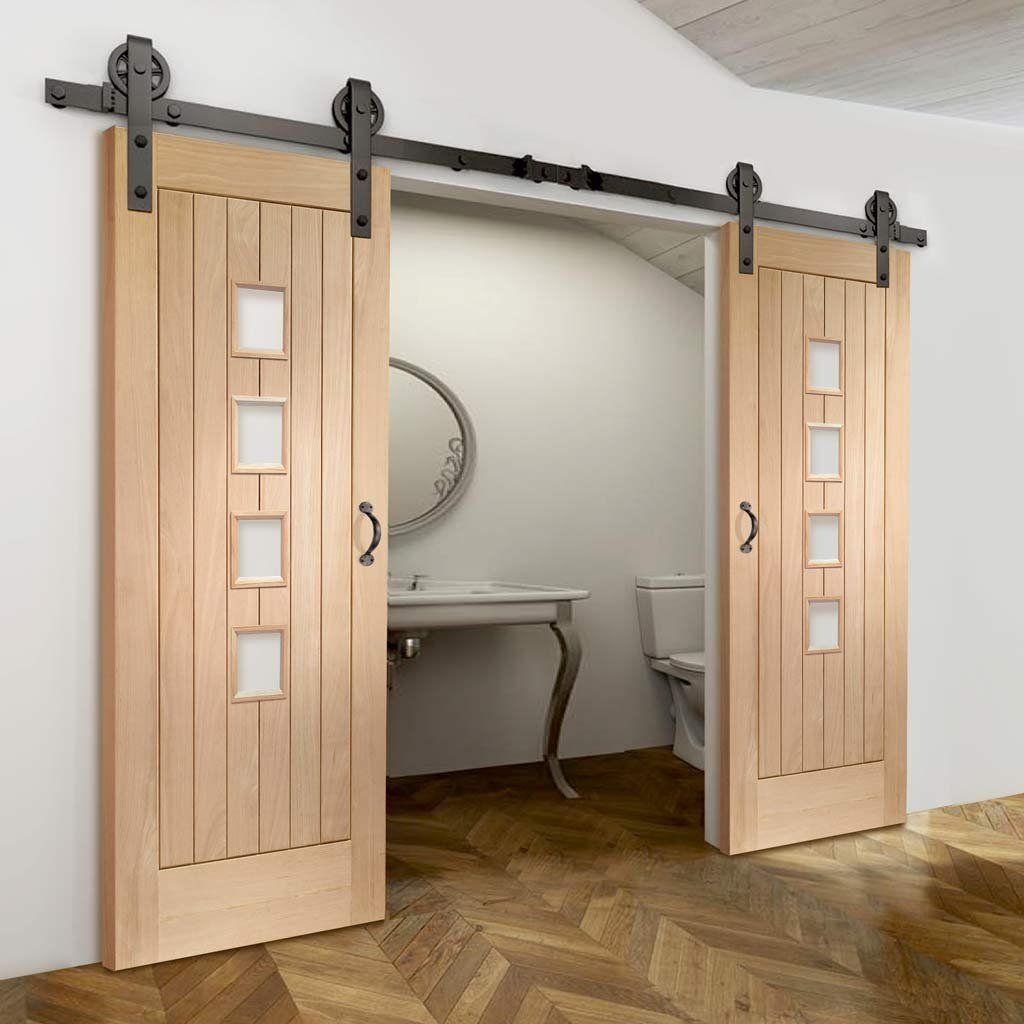 Thruslide Traditional Contemporary Suffolk Oak 4l Sliding Double Door Obscure Glass Lifestyle Internal Sliding Doors Sliding Doors Barn Style Sliding Doors