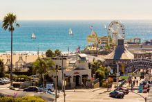 Santa Monica Pier, home to Pacific Park, with its one-of-a-kind solar-panelled Ferris wheel. Photo / Supplied