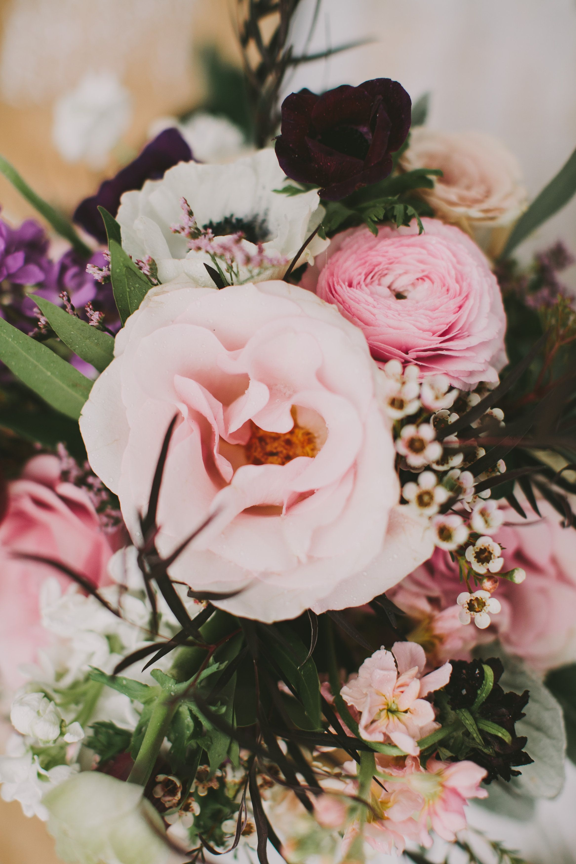 soft pink wedding flowers for your winter wedding florals for