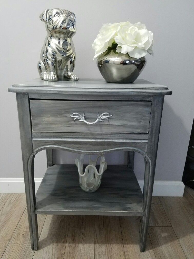 Superb Upcycled, Repurposed And Reloved DIY. Cute End Table. Refinished In Gray,  Silver