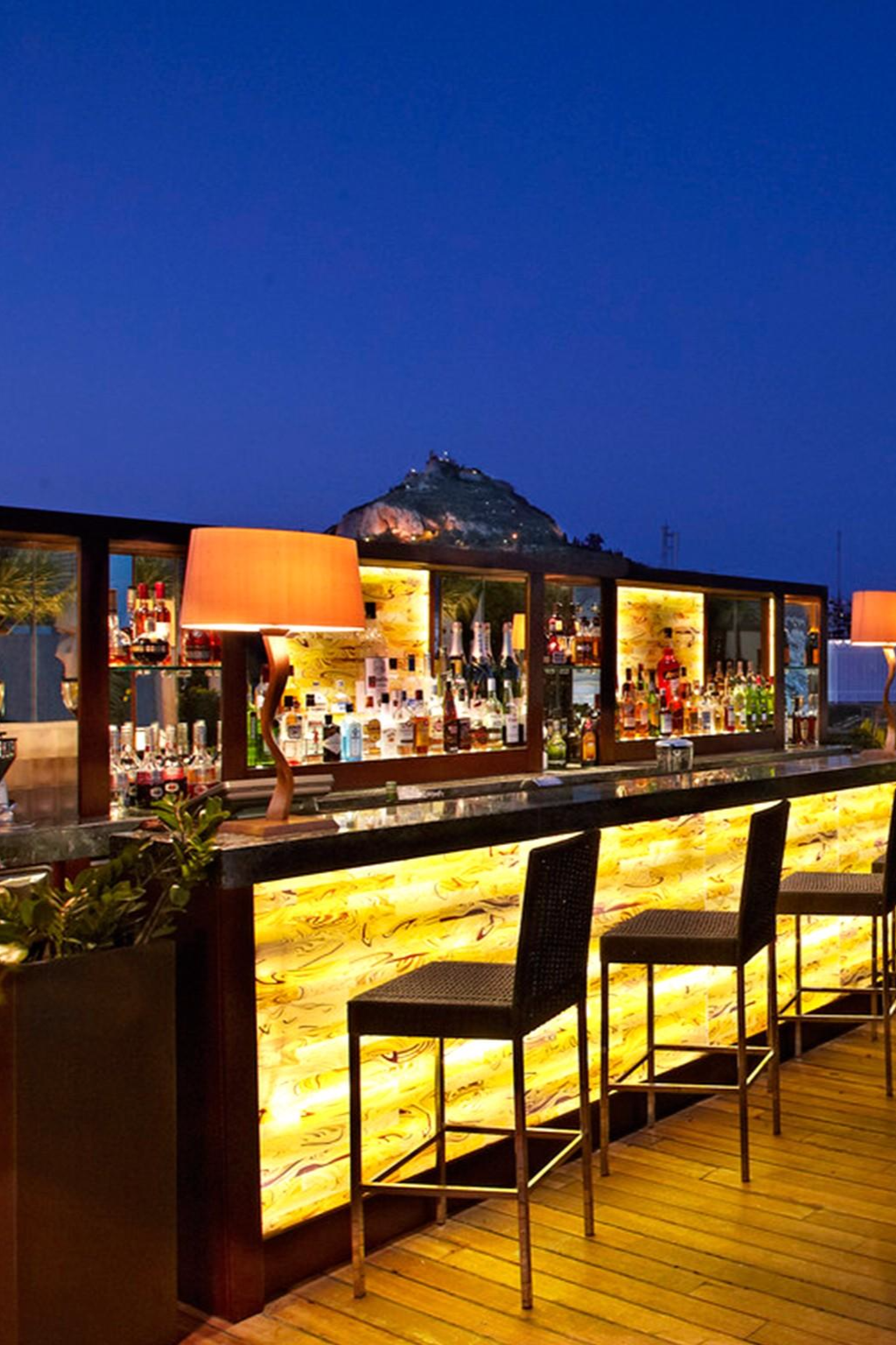 Enjoy A Cocktail Alfresco At The Hotel S Gb Roof Garden Bar Hotel Grande Bretagne A Luxury Collection Hotel Terrace Design Rooftop Terrace Design Garden Bar