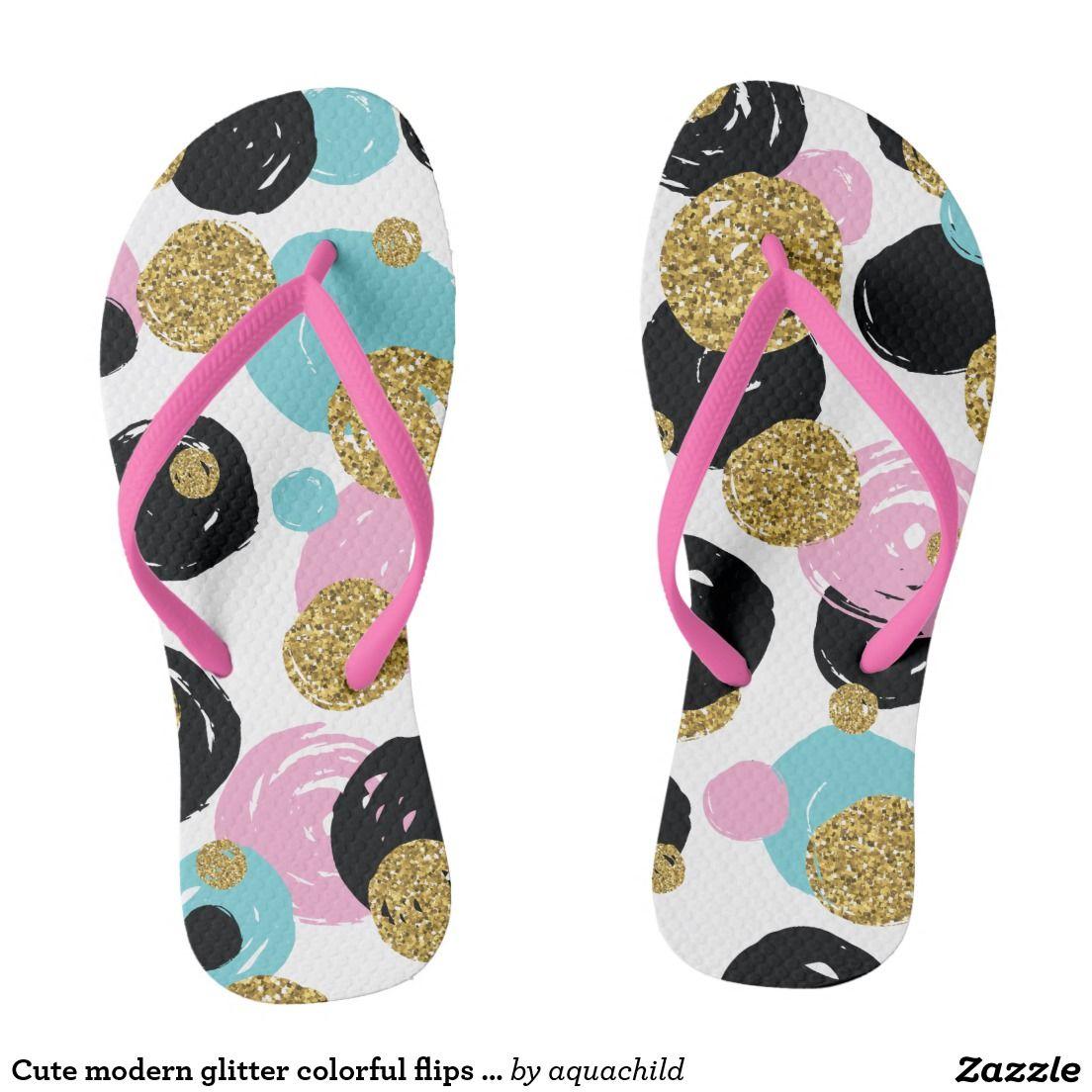 Cute modern glitter colorful flips flops flip flops