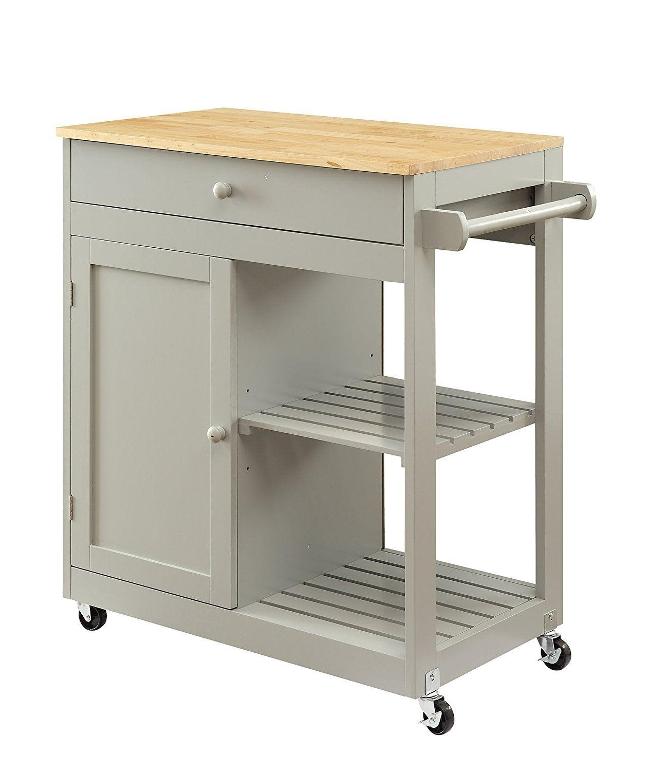 Oliver And Smith Nashville Collection Mobile Kitchen Island Cart On Wheels  Wooden Grey Natural Oak Butcher Block 30 W X 17 L X 36 H * Check This  Awesome ...
