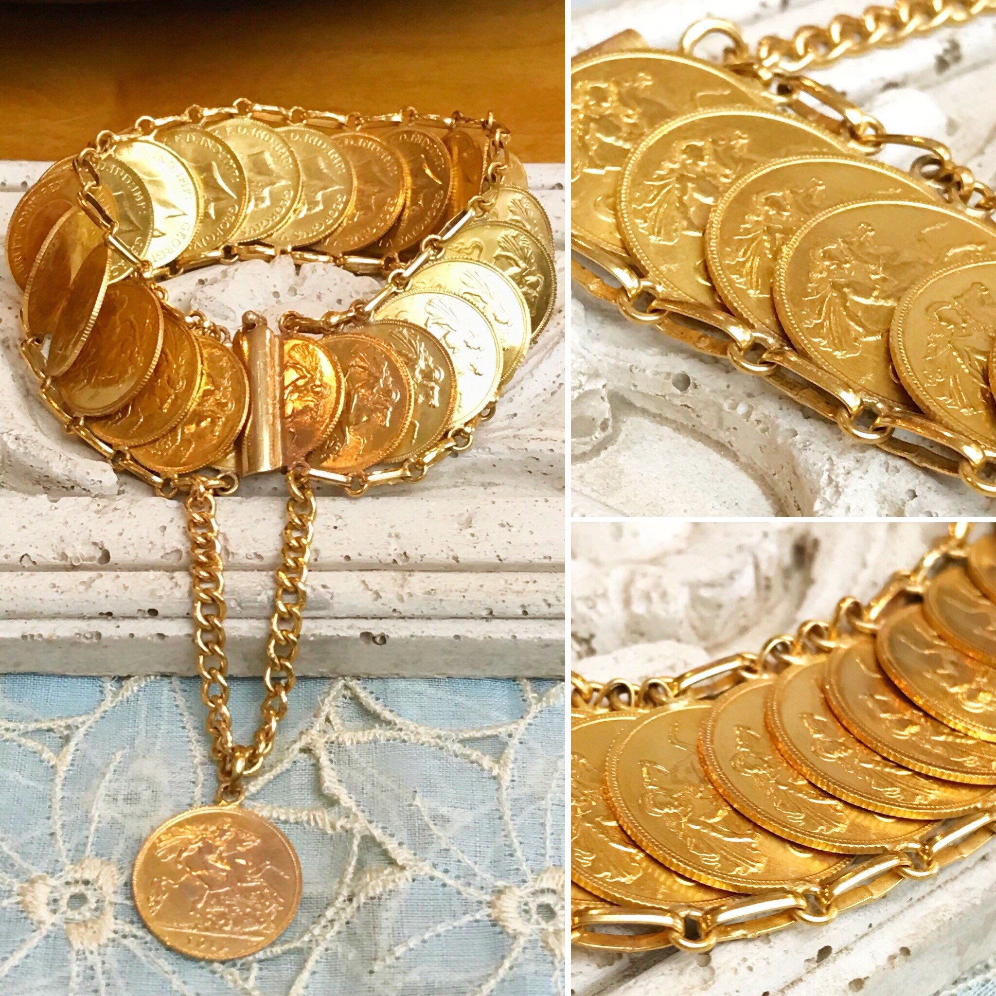 Handmade Estate Solid 21k Yellow Gold Coin Link Bracelet 21k Etsy Gold Coins Coin Bracelet Black Gold Jewelry