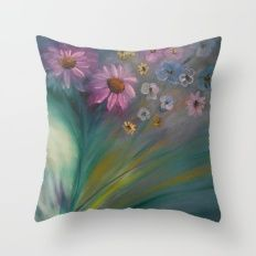 Poetic Blooms Throw Pillow