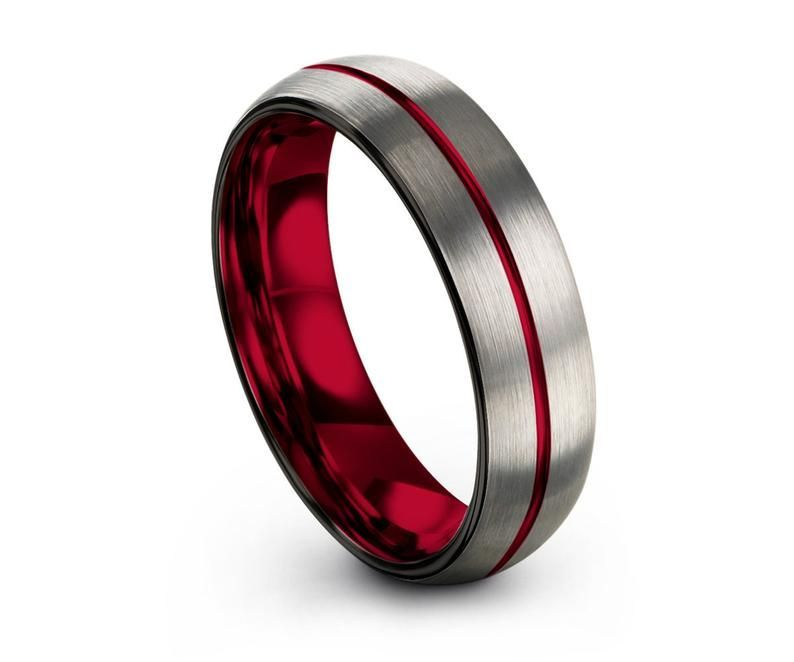 Mens Wedding Band Thin Red Line Silver Tungsten Ring Wedding Etsy In 2020 Mens Wedding Bands Black Black Wedding Rings Black Tungsten Rings