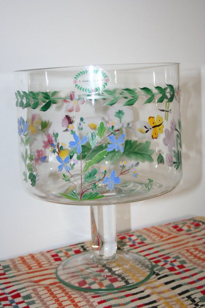 Trifle Bowl Floral Painted Easter Spring Glass Serving TRIFLE BOWL Awesome Trifle Bowl Decorations