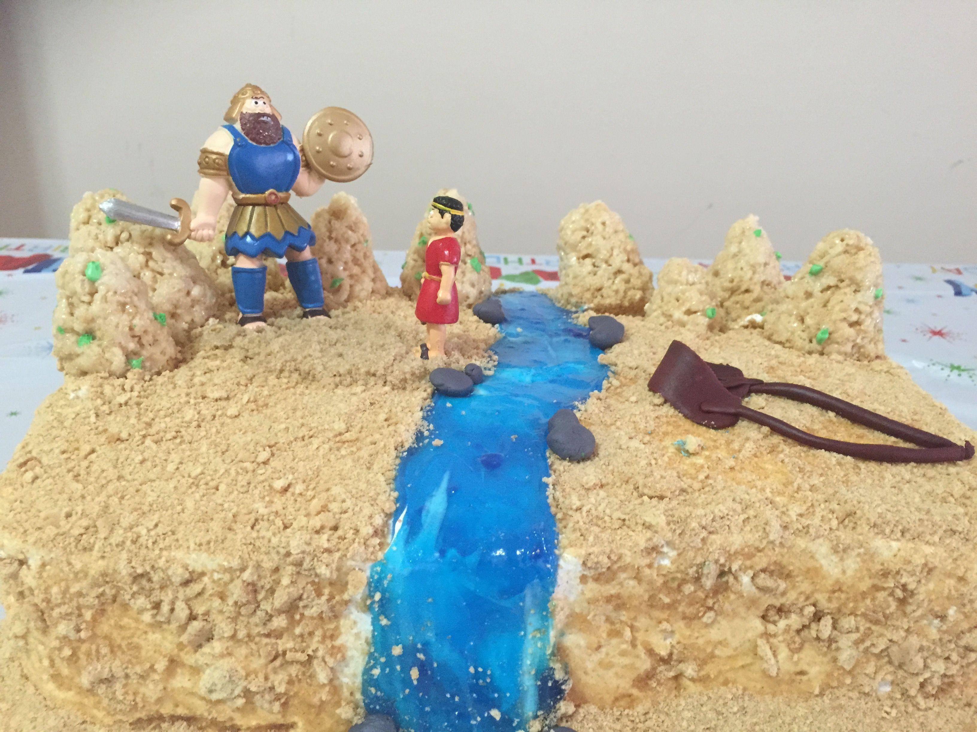 david and goliath birthday cake pastel biscocho de david y
