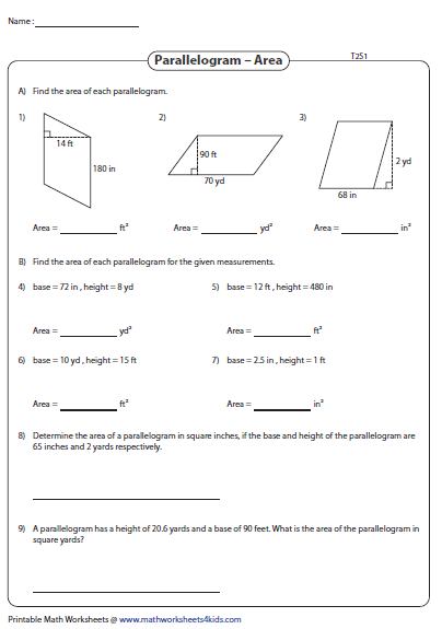 Area Of Parallelograms Unit Conversion Area Worksheets Parallelogram Unit Of Area