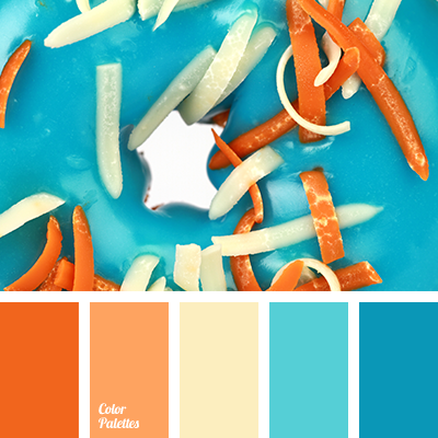 Bright Orange Combined With Turquoise Deep Blue And Muted Shades Of Peach Pale Yellow 2368 Cp