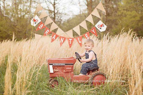 Farm Decoration Boy 1st Birthday County Fair Party Tractor Birthday John Deere 1st First Birthday John Deere Burlap High Chair Banner