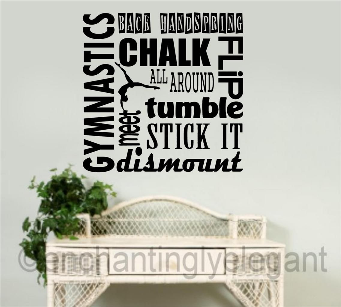 gymnast wall decal  vinyl decal wall sticker words lettering teen  - gymnast wall decal  vinyl decal wall sticker words lettering teen roomsports decor ebay