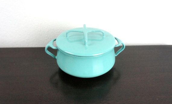 Vintage Dansk Kobenstyle Turquoise 4 5 Mini Dutch Oven Enameled Steel Enameled Steel Jens Quistgaard Dutch Oven