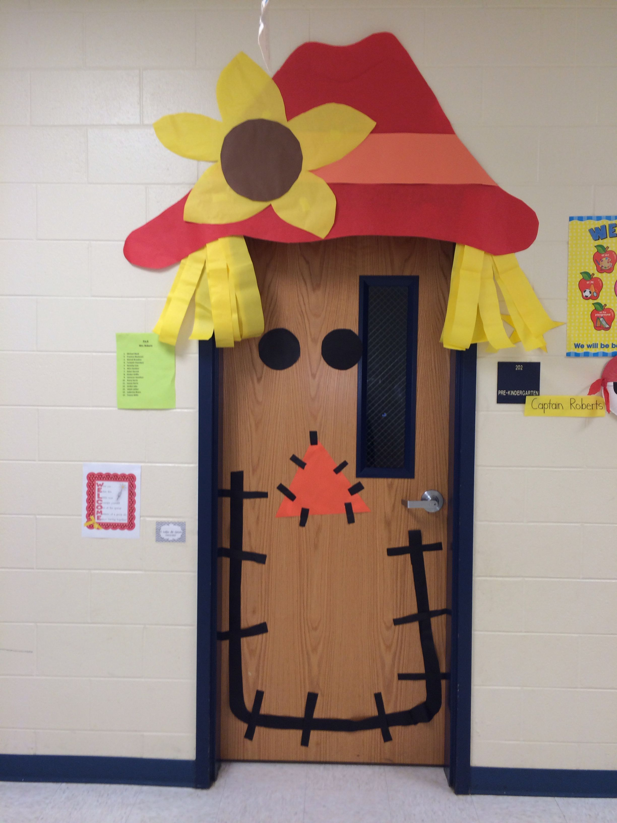 Fall Scarecrow Door I Made For Another Teacher Real Cute