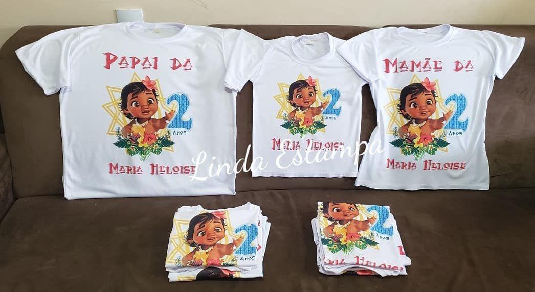 Camisa personalizada para aniversário tema Moana Baby. 😊Escolha o seu e  venha personalizar com 73e517e64f8