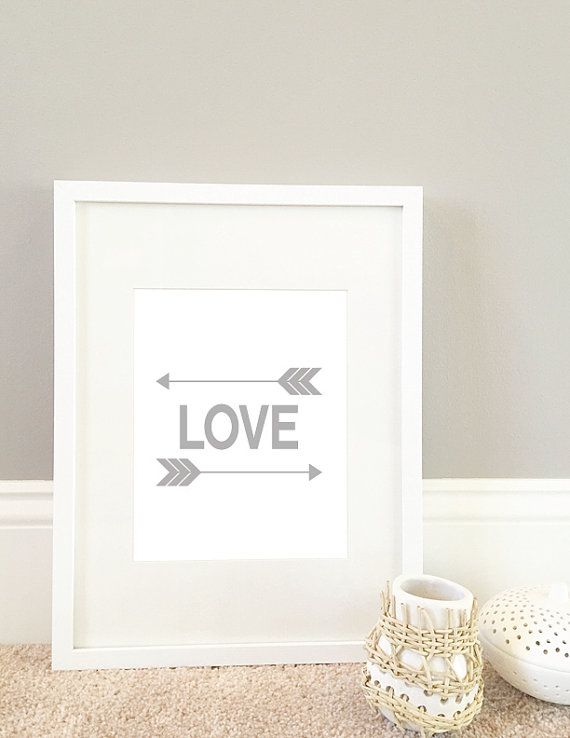 Gray Arrows and Love Digital Print by MiniMommaDesigns on Etsy
