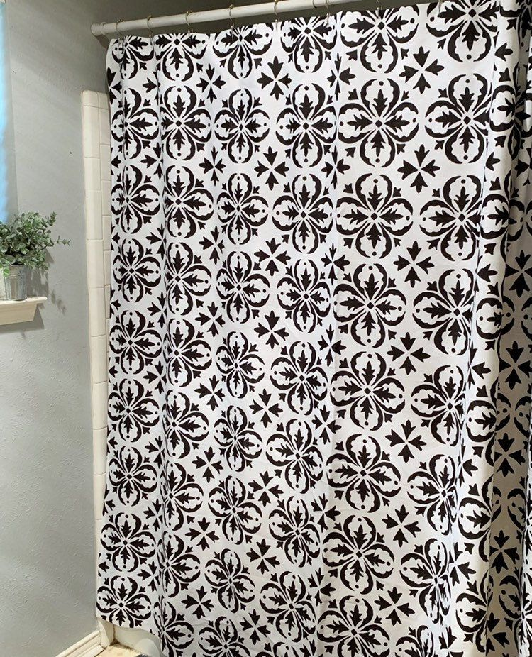 Farmhouse Shower Curtain Black And White Bathroom Decor White
