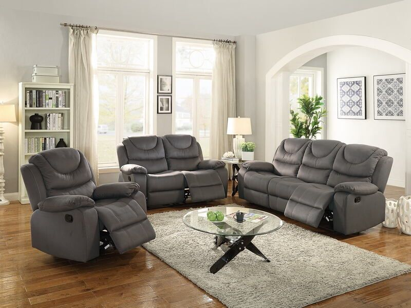 Poundex F6762 63 2 Pc Carlsbad Ii Slate Blue Breathable Leatherette Sofa And Love Seat Set With Reclining Ends Living Room Recliner 3 Piece Living Room Set Living Room Sets #reclining #3 #piece #living #room #set