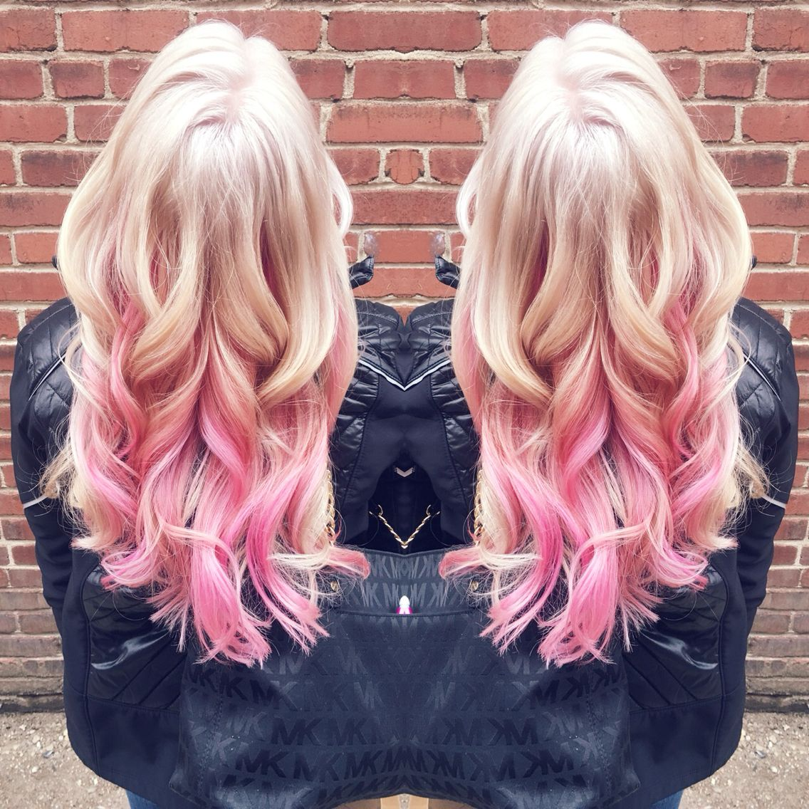 Platinum Blonde With Pink Highlights In Love