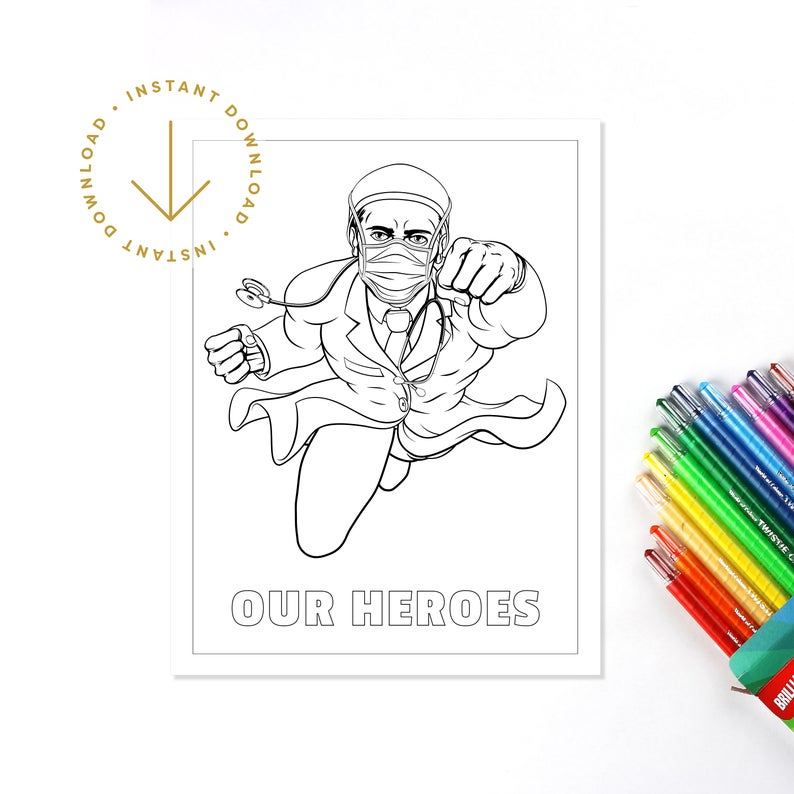 Printable Coloring Page Thank You Healthcare Worker Medical Etsy Printable Coloring Pages Coloring Pages Printable Coloring