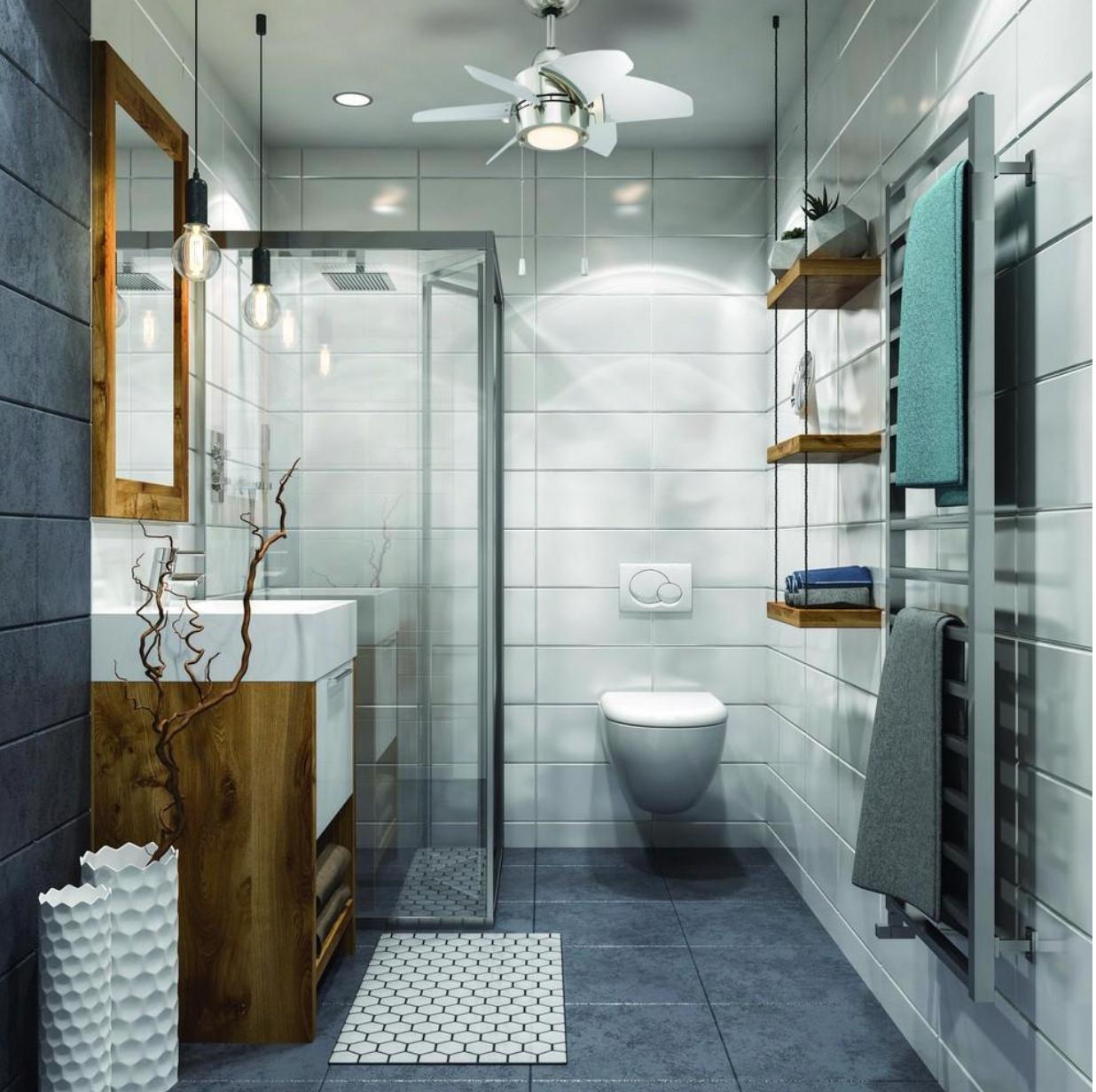 Craftmade Lighting Ppl246 Propel 24 Ceiling Fan With Light Kit Bathroom Industrial Chic Bathroom Design Small Bathroom Interior