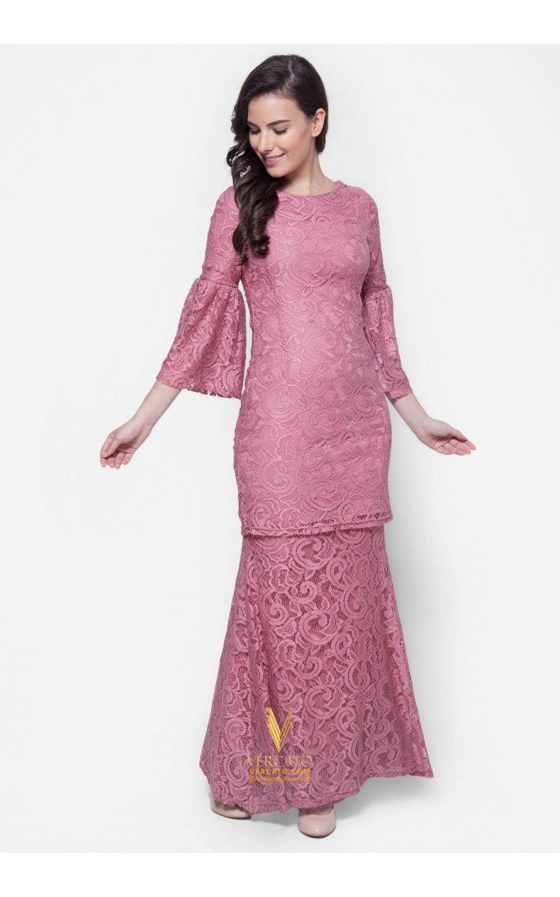 Baju Kurung Moden Lace - Vercato Nora in Dusty Pink | Desain baju ...