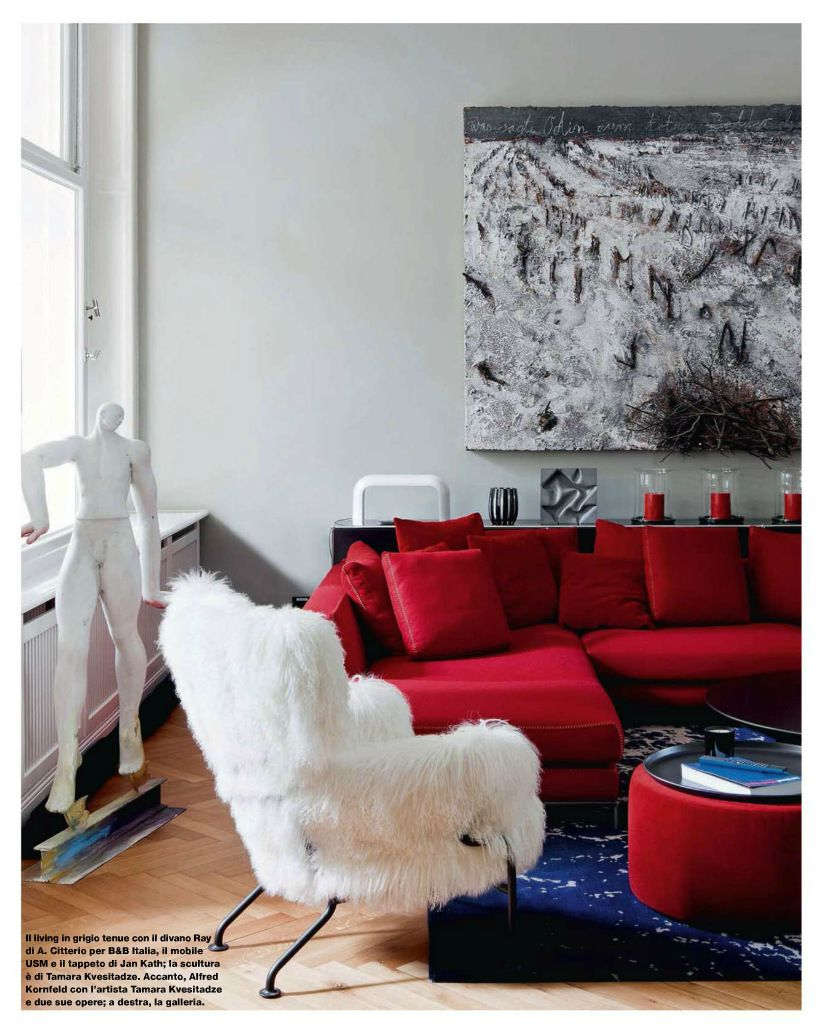 contemporary style living room with silver gray walls, cherry red